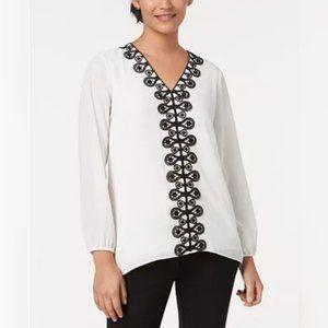 Alfani White and Black Lace-Trim Tunic